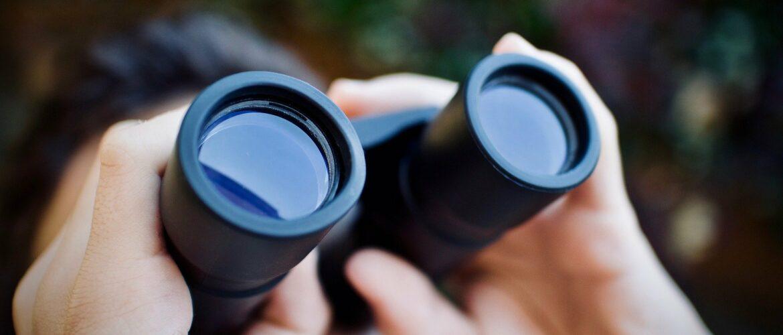 Blick durch Fernglas in die Zukunft